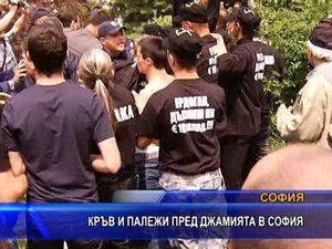 Кръв и палежи пред джамията в София