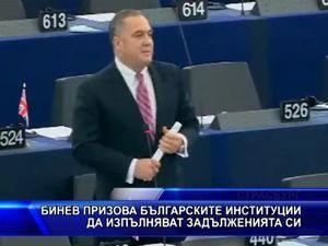 Бинев призова българските институции да изпълняват задълженията си