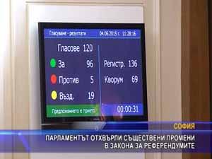 Парламентът отхвърли съществени промени в закона за референдумите