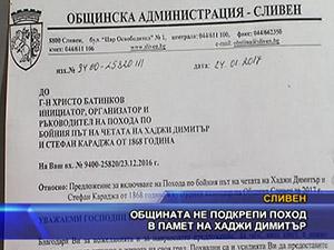 Общината не подкрепи поход в памет на Хаджи Димитър