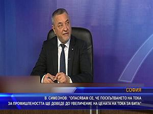 Симеонов: Опасявам се, че поскъпването на тока за промишлеността ще доведе до увеличение на цената на тока за бита