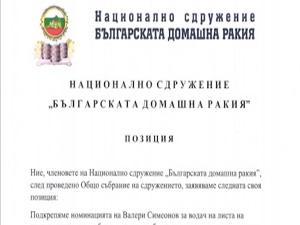 """Позиция на """"Българската домашна ракия"""""""