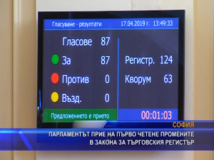 Парламентът прие на първо четене промените в Закона за търговския регистър