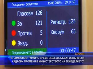 Симеонов: Крайно време беше да бъдат извършени кадрови промени в Министерството на земеделието