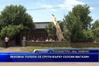 Вековна топола се срути върху селски магазин