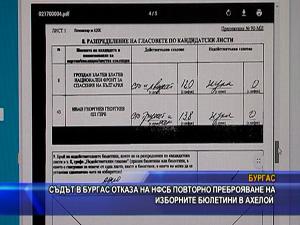 Съдът в Бургас отказа на НФСБ повторно преброяване на изборните бюлетини в Ахелой